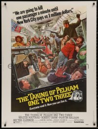 5b0386 TAKING OF PELHAM ONE TWO THREE 30x40 1974 cool subway train hijack art by Mort Kunstler, rare!