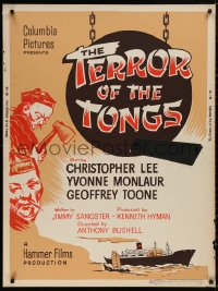 5b0388 TERROR OF THE TONGS 30x40 1961 cool art of Asian villain Chris Lee, drug-crazed assassins!