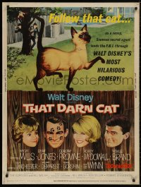 5b0389 THAT DARN CAT 30x40 1965 great art of Hayley Mills & Disney Siamese feline, ultra rare!