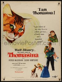 5b0391 THREE LIVES OF THOMASINA 30x40 1964 Walt Disney, great art of winking & smiling cat!