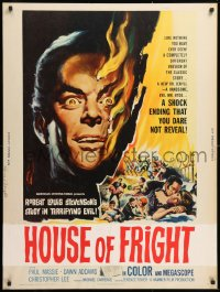 5b0392 TWO FACES OF DR. JEKYLL 30x40 1961 House of Fright, cool burning face art by Reynold Brown!
