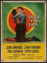 5b0393 UNTIL THEY SAIL 30x40 1957 Paul Newman kissing sexy Jean Simmons, James Michener, ultra rare!