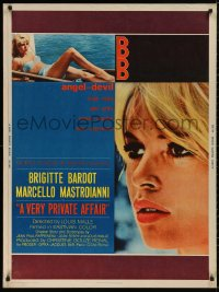 5b0396 VERY PRIVATE AFFAIR 30x40 1962 Louis Malle's Vie Privee, c/u of sexiest Brigitte Bardot!