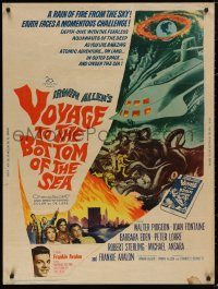 5b0397 VOYAGE TO THE BOTTOM OF THE SEA 30x40 1961 fantasy art of scuba divers & monster, ultra rare!