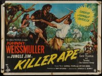 5b0467 KILLER APE British quad 1954 Weissmuller as Jungle Jim, drug-mad beasts, ultra-rare!