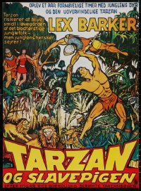 5b0419 TARZAN & THE SLAVE GIRL Danish R1970s art of Lex Barker fighting off invaders!