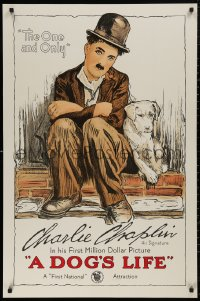 5b0006 DOG'S LIFE S2 poster 1998 great stone litho art of Charlie Chaplin as the Tramp & his mutt!