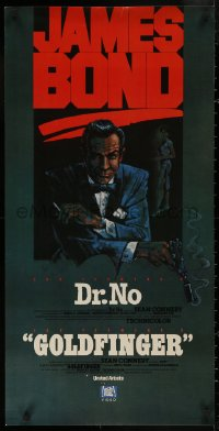 5b0057 DR. NO/GOLDFINGER 18x36 video poster 1981 great art of Sean Connery as 007!