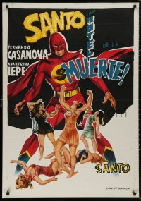 5b0557 SANTO EN EL HOTEL DE LA MUERTE Egyptian poster 1963 art of sexy women and caped wrestler!
