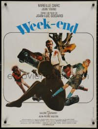 5b0622 WEEK END French 24x32 1967 Jean-Luc Godard, cool different design by Jouineau Bourduge!
