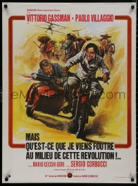 5b0623 WHAT AM I DOING IN THE MIDDLE OF A REVOLUTION French 24x32 1974 Corbucci, Casaro motorcycle art!