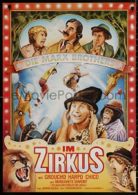 5b0438 AT THE CIRCUS German R1970s wacky different art of Groucho, Chico, & Harpo Marx!
