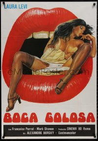 5b0447 GREEDY MOUTH export Italian 1sh 1981 striking artwork of super sexy Laura Levi in open mouth!