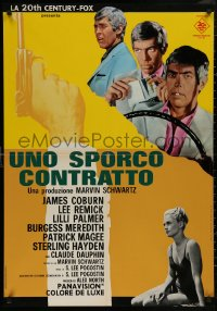 5b0457 HARD CONTRACT group of 2 Italian 27x38 pbustas 1969 James Coburn & Lee Remick, different!