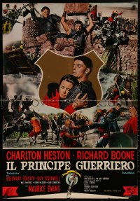 5b0456 WAR LORD Italian 27x39 pbusta 1965 Charlton Heston all decked out in armor with sword!