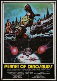 5b0434 PLANET OF DINOSAURS Lebanese 1978 X-Wings & Millennium Falcon art from Star Wars by Tino Aller