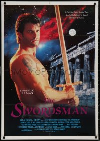 5b0436 SWORDSMAN Lebanese 1992 completely different image of barechested Lorenzo Lamas with sword!