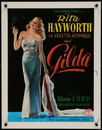 5b0070 GILDA 15x20 REPRO poster 1990s sexy smoking Rita Hayworth full-length in sheath dress