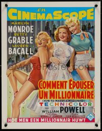 5b0071 HOW TO MARRY A MILLIONAIRE 15x20 REPRO poster 1990s Marilyn Monroe, Grable & Bacall!