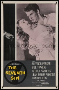 5b0029 SEVENTH SIN 1sh 1957 art of sexy scared Eleanor Parker, who betrays super angry Bill Travers!