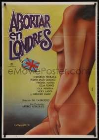 5b0690 ABORTAR EN LONDRES Spanish 1977 different sexy Perceval art for a very serious movie!