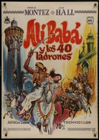 5b0693 ALI BABA & THE FORTY THIEVES Spanish R1973 different art of Maria Montez & Turhan Bey!