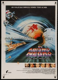 5b0698 BLACK HOLE Spanish 1980 Disney sci-fi, cool different art of ship in space, top cast & more!