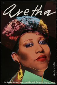 5b0048 ARETHA FRANKLIN 24x36 music poster 1986 great close-up art of the star by Andy Warhol!