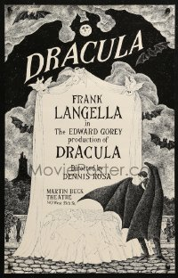 5b0036 DRACULA 14x22 stage poster 1977 cool vampire horror art by producer Edward Gorey!