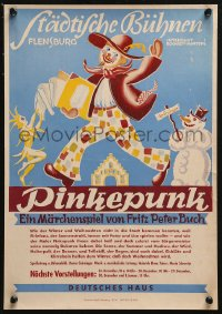 5b0037 PINKEPUNK 12x18 German stage poster 1920s Fritz Peter Buch production, art of a clown!