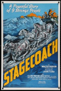 5b0007 STAGECOACH S2 poster 2000 John Ford, John Wayne, artwork of rushing stagecoach and horses!