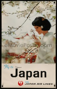 5b0077 JAPAN AIR LINES JAPAN 25x39 Japanese travel poster 1967 woman, sakura at Heian Shrine!