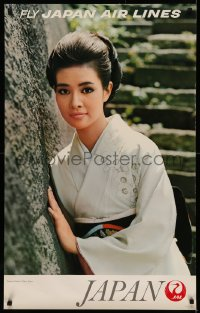 5b0078 JAPAN AIR LINES JAPAN 25x39 Japanese travel poster 1968 smiling woman at Imperial Palace!