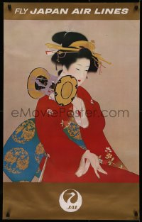 5b0076 JAPAN AIR LINES 25x39 Japanese travel poster 1968 art of Geisha in a red kimono by Uemura!