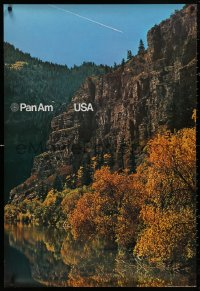 5b0075 PAN AM USA 2-sided 27x40 German travel poster 1972 gorgeous lakefront cliff during autumn!