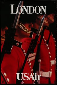 5b0074 USAIR LONDON 24x36 travel poster 1990s close-up image of the Queen's Guard with bayonets!