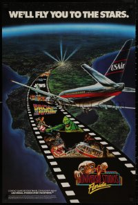 5b0073 USAIR UNIVERSAL STUDIOS FLORIDA 24x36 travel poster 1990 Jaws, King Kong and many more!
