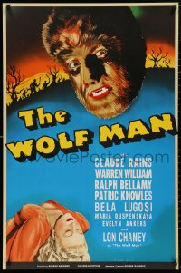 5b0003 WOLF MAN S2 poster 2000 artwork of Lon Chaney Jr. in the title role as the monster!