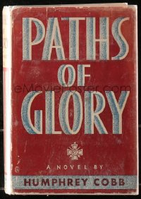 5c0201 PATHS OF GLORY 1st edition hardcover book 1935 Humphrey Cobb novel later became a movie!