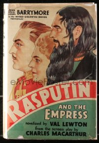 5c0204 RASPUTIN & THE EMPRESS hardcover book 1932 novelization by Val Lewton, art of Barrymores!