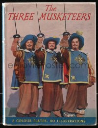 5c0229 THREE MUSKETEERS English hardcover book 1948 Alexandre Dumas' novel with color movie scenes!