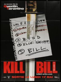 5c1258 KILL BILL: VOL. 2 teaser French 1p 2004 Quentin Tarantino, different image of sword & the list!