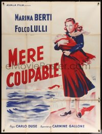 5c1266 LA COLPA DI UNA MADRE French 1p 1954 art of Marina Berti holding her baby by the ocean!