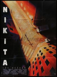 5c1267 LA FEMME NIKITA French 1p 1990 Luc Besson, cool overhead art of Anne Parillaud in alley!