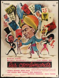 5c1277 LES COMBINARDS French 1p 1966 great art of turbaned magician Darry Cowl with playing cards!