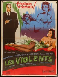5c1279 LES VIOLENTS French 1p 1957 great different Xarrie art of guy with gun by sexy girls!