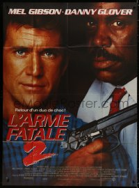 5c1280 LETHAL WEAPON 2 French 1p 1989 great close up of police partners Mel Gibson & Danny Glover!