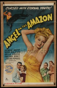 5d0049 ANGEL ON THE AMAZON 1sh 1948 art of George Brent, Vera Ralston, panther attack!