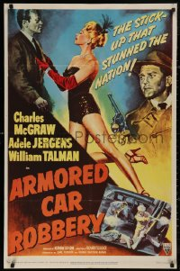 5d0061 ARMORED CAR ROBBERY 1sh 1950 art of Charles McGraw & sexy showgirl Adele Jergens!