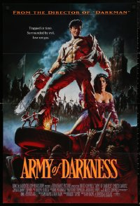 5d0062 ARMY OF DARKNESS 1sh 1993 Sam Raimi, great artwork of Bruce Campbell with chainsaw hand!